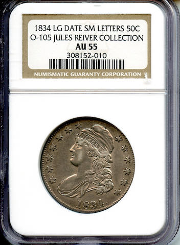 1834 50C Large Date, Small Letters AU55 NGC