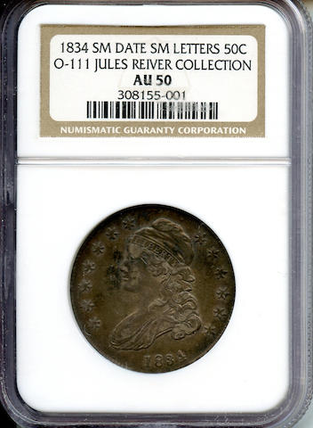 1834 50C Small Date AU50 NGC