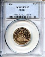 1866 25C PR62 Motto PCGS