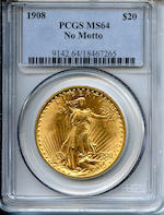 1908 $20 MS64 No Motto PCGS