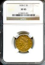 1838-C $5 XF45 NGC