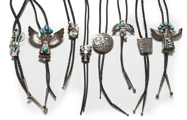 Eight Native American bolo ties