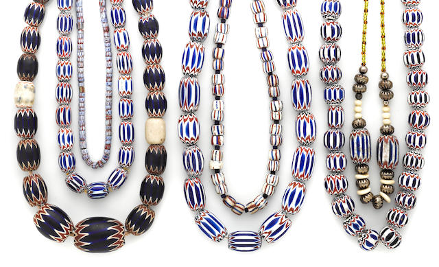A collection of Native American trade bead necklaces