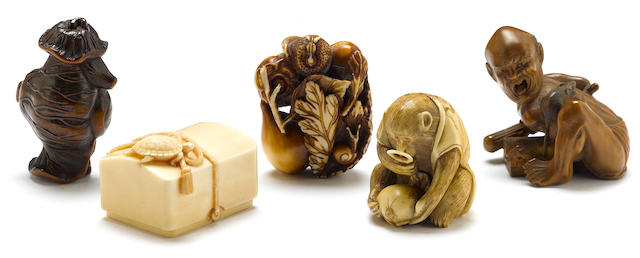 Two wood and three ivory netsuke
