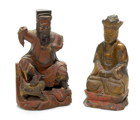A group of two chinese lacquer paint decorated wood temple figures