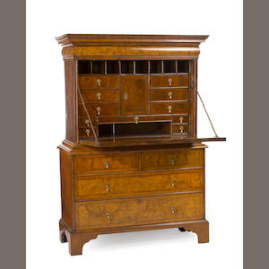 A Queen Anne burled walnut drop front secretary. first quarter 18th century