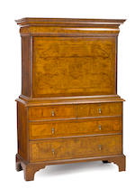 A Queen Anne style burled walnut escritoire second half 19th century
