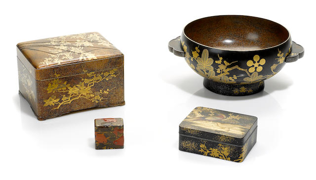 A group of four Japanese lacquer wares