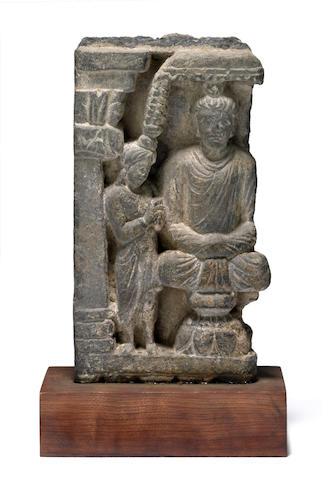 Relief fragment Gray schist Ancient region of Gandhara 2nd/3rd century