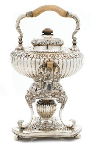 A Dutch 833 standard silver hot water urn on stand, 1893 - 1905
