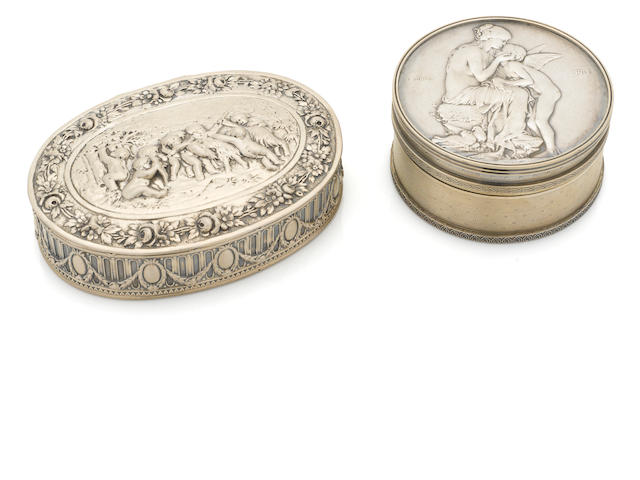 Two Continental silver boxes, French and German