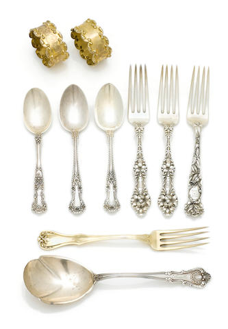 An assembled group of American and Mexican coin and sterling silver flatware and table accessories 20th century