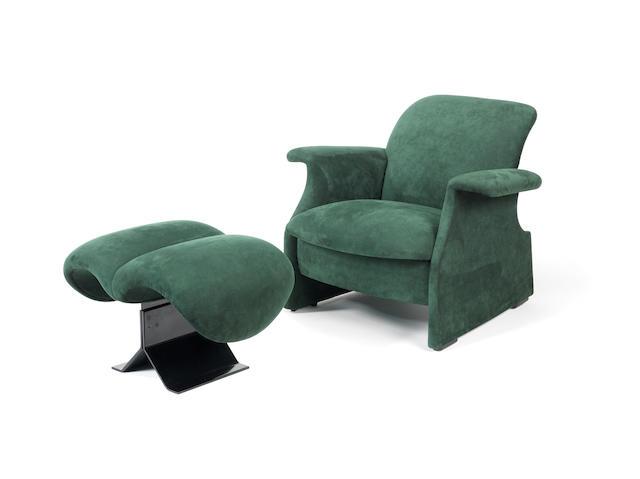 A green suede armchair and stool Sforzesca Castiglioni Italian  1970's