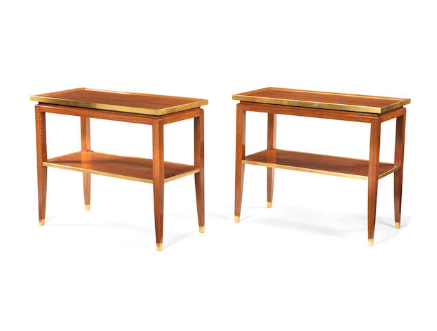 A pair of brass and mahogany console tables with shelves French c 1950