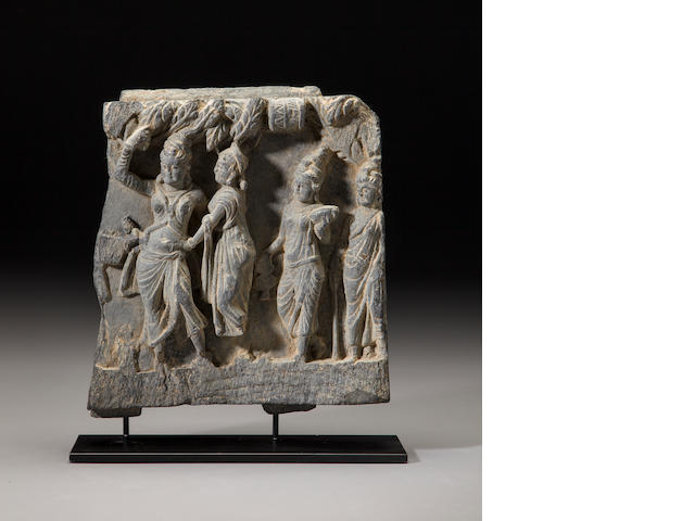A grey schist relief panel of the birth of Buddha Ancient region of Gandhara, 2nd/3rd century
