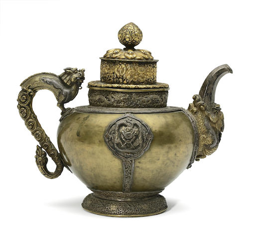 A Tibeto copper alloy and silver ritual teapot