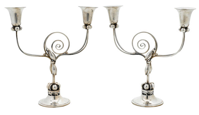 A pair of American sterling silver  Modernist two-light candelabra Fara Co., New York, NY, circa 1965