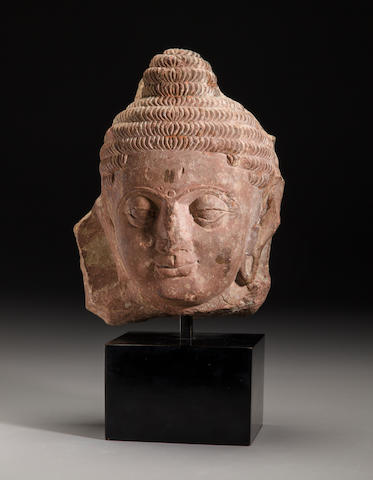 Kushan period red sandstone head of Buddha India, 2nd century
