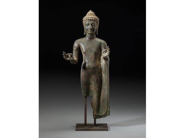 Copper alloy Mon Dvaravati style Buddha  Thailand, 7th/8th century