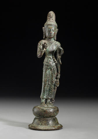 A copper alloy figure of Avalokitesvara Ancient kingdom of Srivijaya (Thailand, Malaya, Indonesia), 8th/9th century