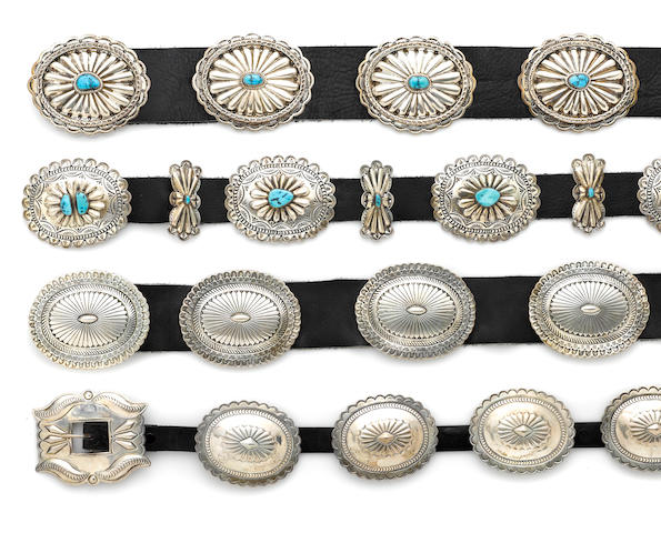 Four Navajo concha belts