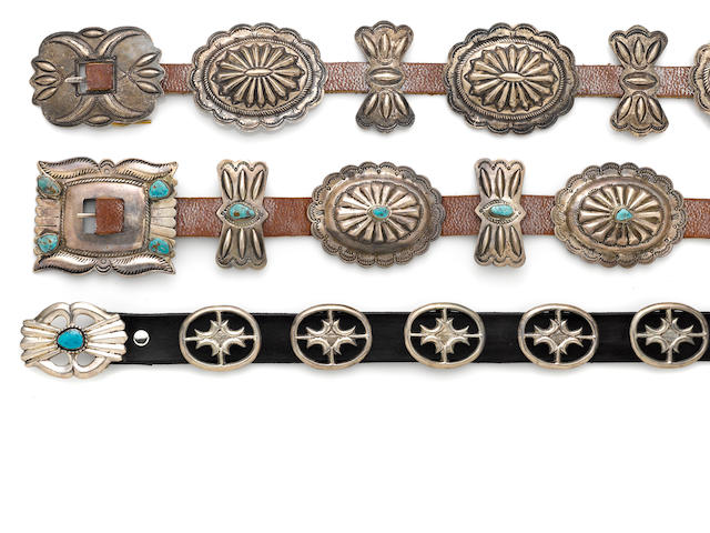 Three Navajo concha belts