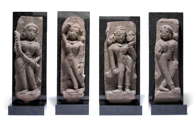 A group of four red sandstone female attendants Rajasthan, 11th-13th century