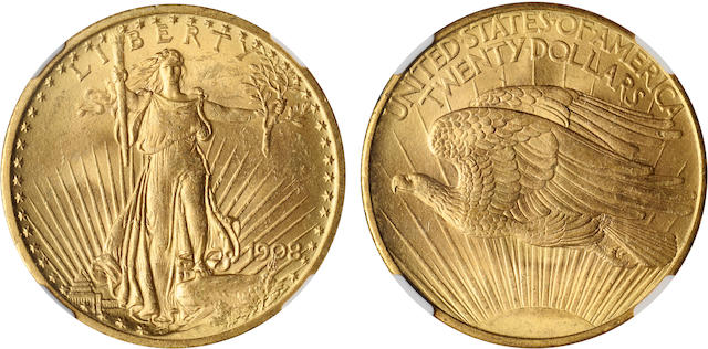 1908 $20 MS63 No Motto NGC