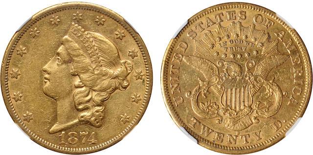 1874-S $20 AU Details NGC