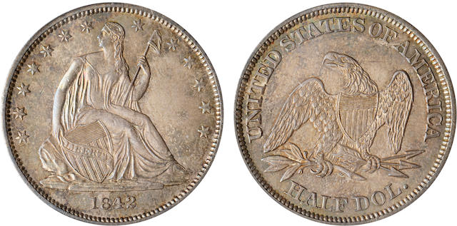 1842 50C Small Date, Reverse of 1842 MS64 PCGS
