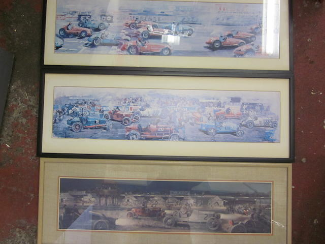 A collection of three panoramic prints,