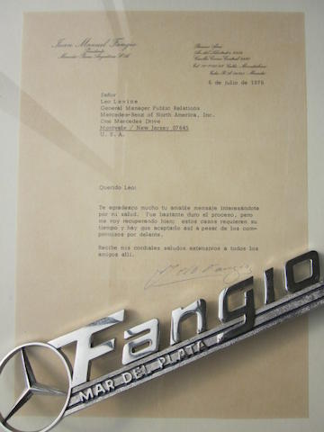 A personal letter From Juan Fangio to Leo Levine,
