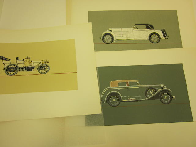 A rare set of Mercedes-Benz woodblock prints,