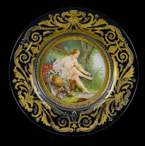 A Venetian enamel decorated and gilt heightened glass charger, framed