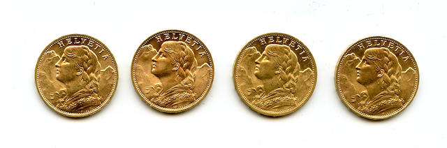 Switzerland, Gold 20 Francs, 1909, 1925, 1927, 1980