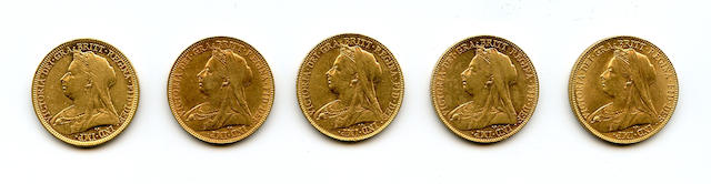 Great Britain, Victoria, Sovereign, 1896 (2), 1899, 1900 (2)