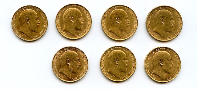 Great Britain, Edward VII, Sovereigns, 1903, 1904, 1905, 1906, 1907, 1909, 1910