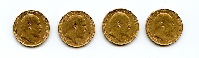 Australia, Edward VII, Sovereigns, 1905-P, 1906-P (2), 1910-P