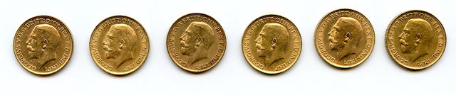 Great Britain, George V, Sovereigns, 1911 (6)