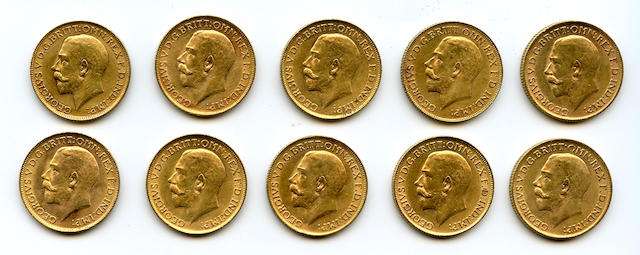 Great Britain, George V, Sovereigns, 1911 (10)
