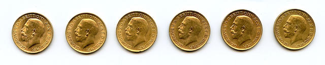 Great Britain, George V, Sovereigns, 1913 (6)