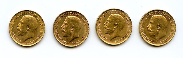 Australia, George V, Sovereigns, 1915-P, 1916-P, 1917-P, 1918-P