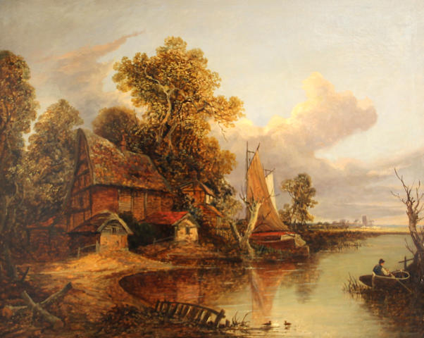 Joseph Paul (British, 1804-1887) A cottage by a river with boats and figures 25 x 30in