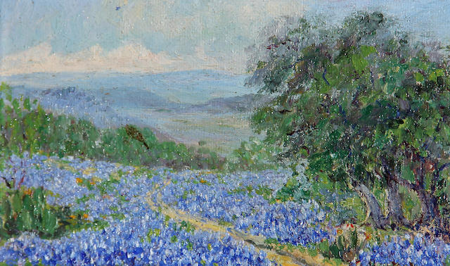 American School (20th Century) Bluebonnets along a path 4 x 7in