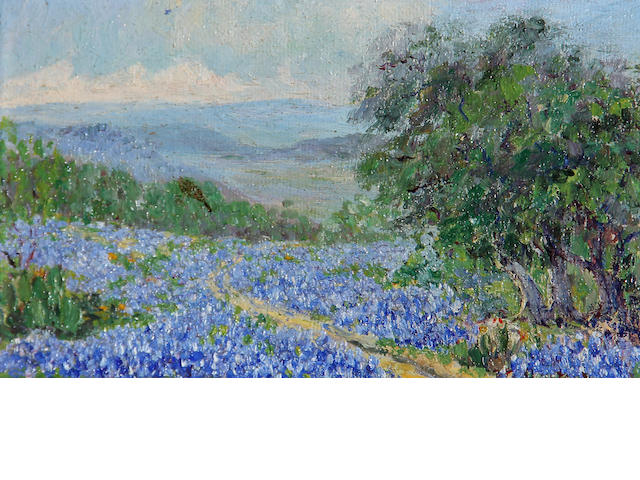Texas School Texas bluebonnets signed indistinctly (lower left) oil on canvas board 3 ¾ x 6 ¾in