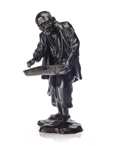 A bronze figure of a farmer with a rice winnow, signed Seiya saku