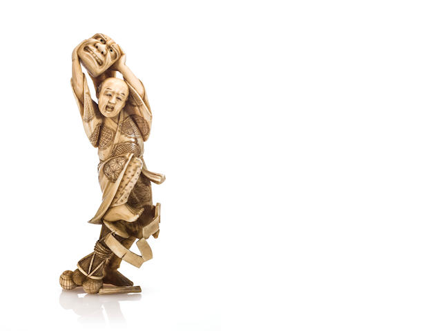 Ivory figure of an entertainer, late 19th century