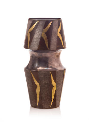 Mixed metal modern vase