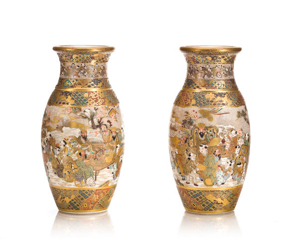 Pair of Satsuma vases, children