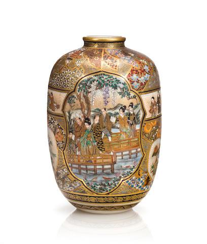 Small Satsuma vase with figures (Kozan)